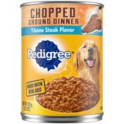 Pedigree Adult Canned Wet Dog Food Chopped Ground Dinner T-Bone Steak Flavor
