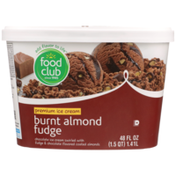 Food Club Burnt Almond Fudge Chocolate Premium Ice Cream Swirled With Fudge & Chocolate Flavored Coated Almonds