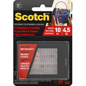 3M Scotch Extreme Fasteners Clear 1 in x 3 in, 2 sets/pk