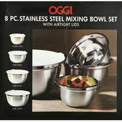 Oggi Mixing Bowl Set, Stainless Steel, 8 Pieces