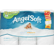 Angel Soft Bathroom Tissue, Unscented, Double Rolls, 2-Ply