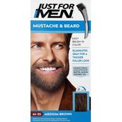 Just For Men Easy Brush-In Color, Mustache & Beard, Medium Brown M-35
