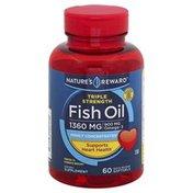 Nature's Reward Fish Oil, Triple Strength, 1360 mg, Quick Release Softgels