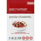 Purely Elizabeth Cereal, Ancient Grain Granola + Puffs, Cranberry Pecan