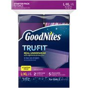 GoodNites Tru-Fit Starter Pack for Girls Large/Extra Large Underwear with Disposable Inserts