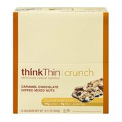 Think Thin Crunch Lower Sugar Nut Bar Caramel Chocolate Dipped Mixed Nuts - 10 CT