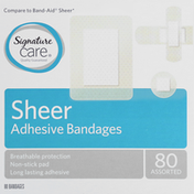Signature Care Adhesive Bandages, Sheer, Assorted