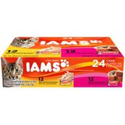 IAMS Variety Pack Pate 12 Cans with Gourmet Chicken and 12 Cans with Tender Beef Cat Food
