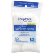 TopCare 3-In-1 Cotton Swabs, Cotton Rounds, Triple Size Cotton Balls Travel Variety Pack