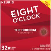 Eight O'Clock Coffee Coffee, Ground, Medium Roast, The Original, K-Cup Pods, Value Pack, 32 Pack