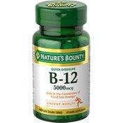 Nature's Bounty Vitamin B-12, Quick Dissolve, 5000 mcg, Quick Dissolve Tablets, Natural Cherry Flavor