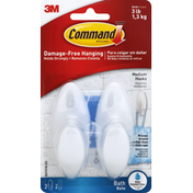 3M Command Bath Hook with Water Resistant Strips Clear Frosted Medium, 2 hooks, 4 strips/pk