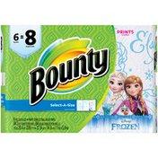 Bounty Select-A-Size Paper Towels, Disney Frozen Print, 6 Big Rolls = 8 Regular Rolls Towels/Napkins