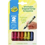 Crayola Crayons, Tripod Grip, Washable, Stage 2 Doodle