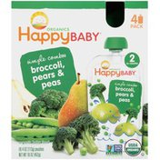Happy Baby Simple Combos Broccoli, Pears & Peas Stage 2 Organic Baby Food