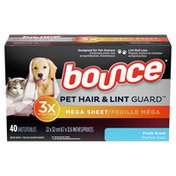 Bounce Pet Hair And Lint Guard Mega Dryer Sheets With 3X Pet Hair Fighters