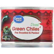 Great Value Green Chiles, Fire Roasted & Peeled, Hot, Diced