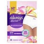 Always Discreet Discreet for Sensitive Skin Underwear S/M Maximum Plus  Absorbency Four Times