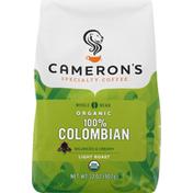 Camerons Coffee, Organic, Whole Bean, Light Roast, 100% Colombian