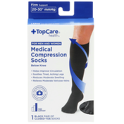 TopCare Firm Support Medical Black Closed-Toe Below Knee Compression Socks For Men And Women, Large
