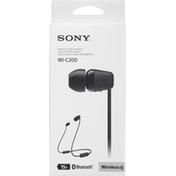 Sony Stereo Headset, Wireless, Black, WI-C200