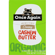 Once Again Cashew Butter, Organic, Creamy, Unsweetened, 10 Pack
