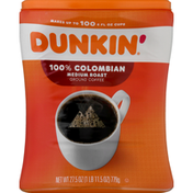 Dunkin' Coffee, Ground, Medium Roast, 100% Colombian