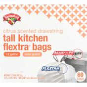 Hannaford Tall Kitchen Bags, Flextra, Citrus Scented, 13 Gallon