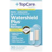 TopCare Watershield Plus, Sterile Antibacterial Waterproof First Aid Antiseptic Assorted Bandages, Clear