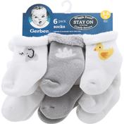 Gerber Socks, 3-6 Months, Wiggle Proof, 6 Pack