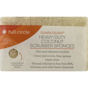 Full Circle Scrubber Sponges, Heavy-Duty, Coconut, Pack of 2