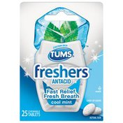 Tums Freshers Cool Mint Chewable Tablets Antacid