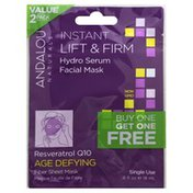 Andalou Naturals Facial Mask, Hydro Serum, Instant Lift & Firm, Age Defying, Value 2 Pack
