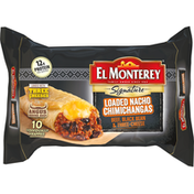 El Monterey Signature Loaded Nacho, Beef, Black Bean and Three-Cheese Chimichangas