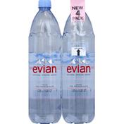 evian Spring Water, Natural, 4 Pack