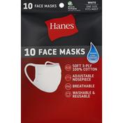 Hanes Face Masks, White