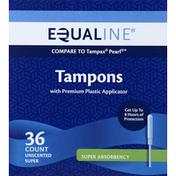 Equaline Tampons, Plastic Applicator, Super Absorbency, Unscented