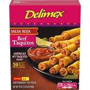 Delimex Salsa Roja Beef XL Corn Taquitos Frozen Snacks