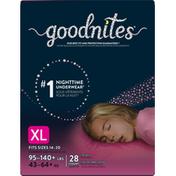 GoodNites Girls' Nighttime Bedwetting Underwear, XL (95-140 lb.)