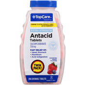 TopCare Extra Strength Antacid Calcium Carbonate 750 Mg Chewable Tablets, Assorted Berry Flavors
