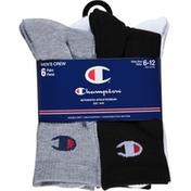 Champion Men's Crew Socks 6 Pack - 6-12 - Black/White/Grey