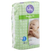 Baby Basics Diapers. Flexible Fit, Size 1 (8-14 lb)
