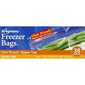 Wegmans Freezer Bags, Zipper Top, Quart Size