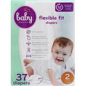 Baby Basics Diapers, 2 (12-18 lb), Flexible Fit