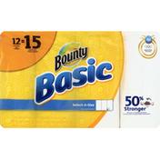 Bounty Basic Bounty Basic Select-A-Size Paper Towels, White, 12 Large Rolls = 15 Regular Rolls Towels/Napkins