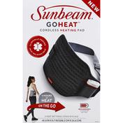 Sunbeam Heating Pad, Cordless, On The Go, Gray