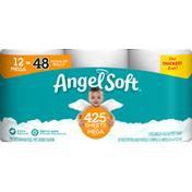 Angel Soft Bathroom Tissue, Unscented, Mega Roll, 2-Ply