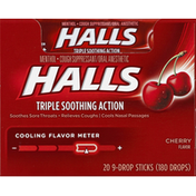 Halls Relief Cherry Cough Suppressant Oral Anesthetic Menthol Drops