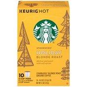 Starbucks Holiday Blonde Roast K-Cup Pods Ground Coffee