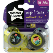 Tommee Tippee Pacifier, Orthodontic, Night Time, 18-36 Months